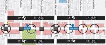 Cette carte regroupe des données qualitatives et quantitatives sur un lieu précis : une artère commerciale de quartier, Plan Quartier vert, actif et en santé du Plateau-Est, CEUM 2011.